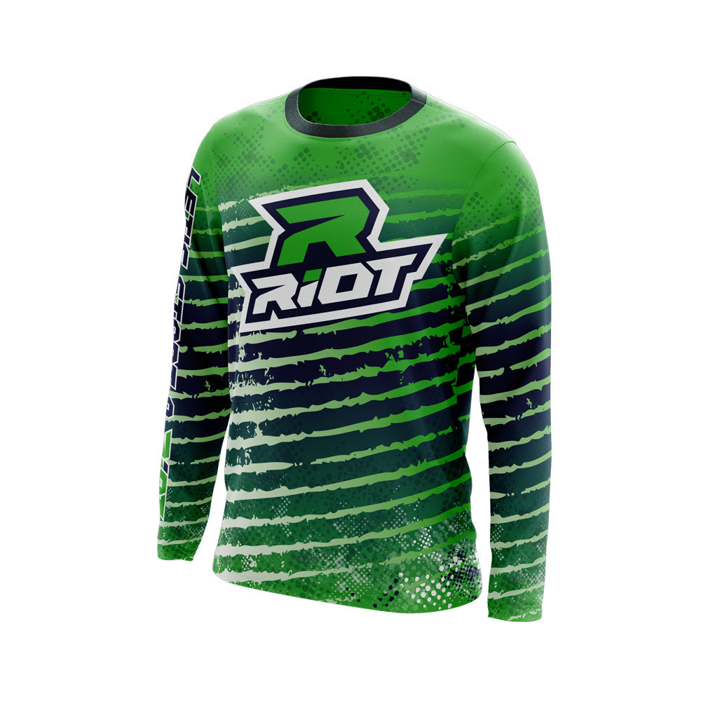 Multi-Color White Navy Blue Lime Full Dye Long Sleeve Riot Jersey