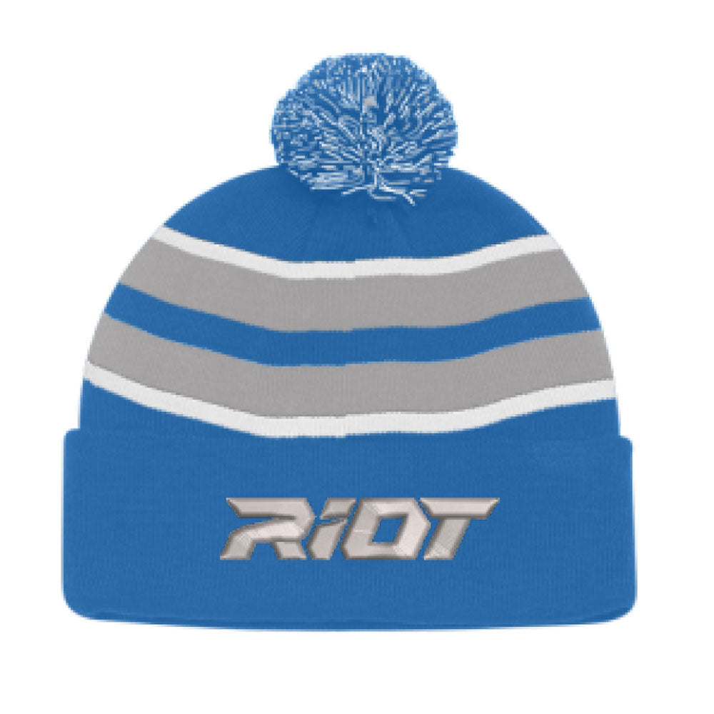 Royal, Silver and White Beanie with Pom Pom with Silver Riot Logo