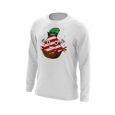 White Long Sleeve with Riot Candy Cane Poop Logo