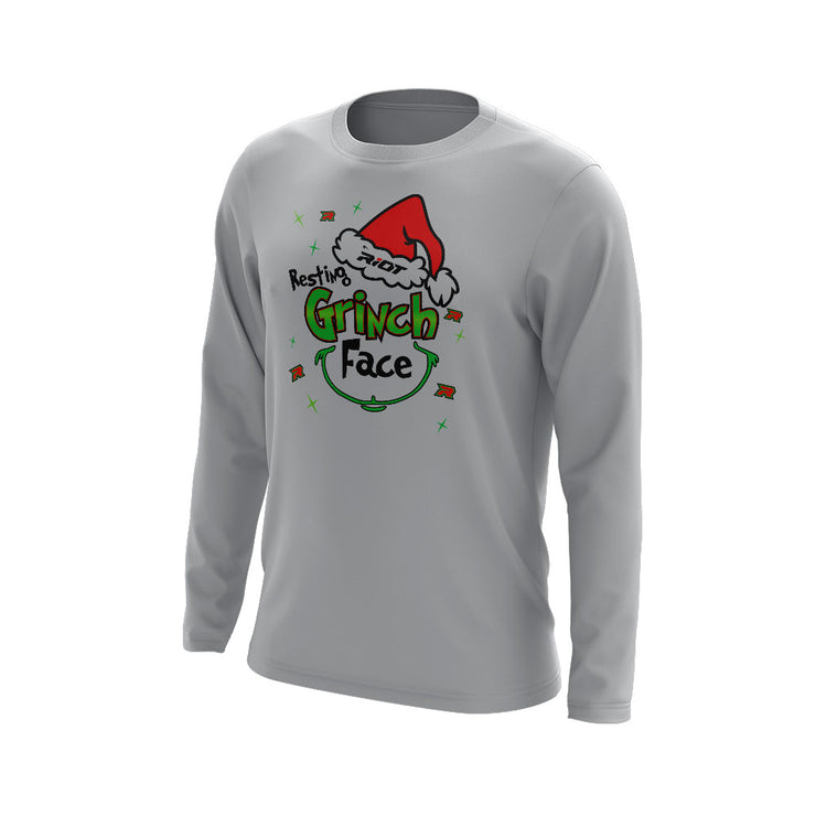 Grey Long Sleeve with Riot Resting Grinch Face Logo