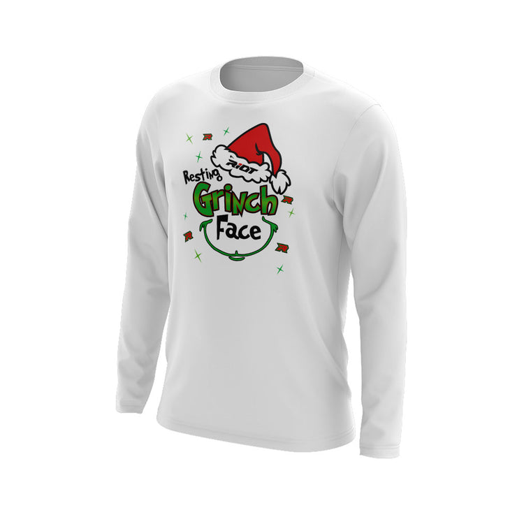 White Long Sleeve with Riot Resting Grinch Face Logo