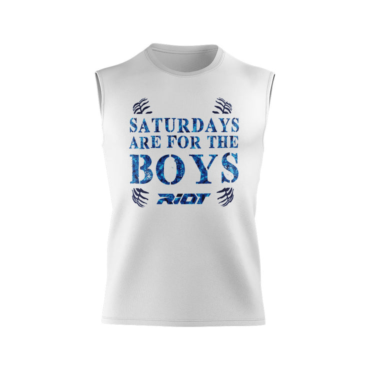 "**BUY IN** White Shirt with Riot ""Boys"" Fathers Day Logo - Custom Back"