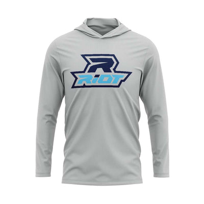 **NEW** Silver Hooded Long Sleeve Shirt with Riot Look Good Logo
