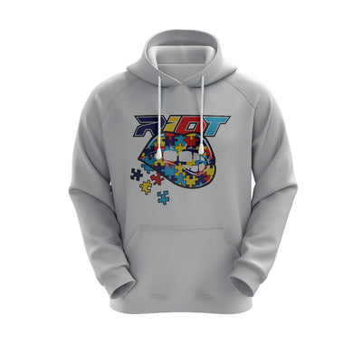 Heather Grey Hoodie w/ Autism Lips Riot Logo
