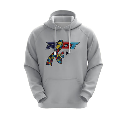 Heather Grey Hoodie w/ Autism Ribbon Riot Logo