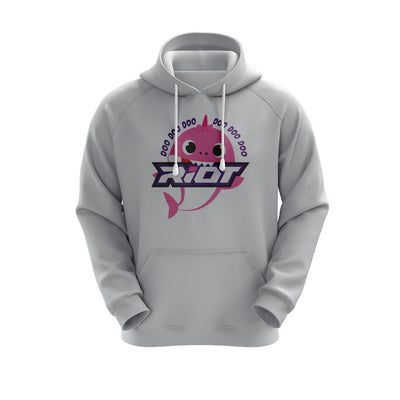 Heather Grey Hoodie w/ Baby Shark Girl Riot Logo