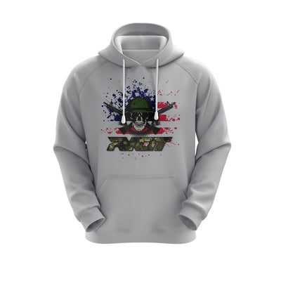 Heather Grey Hoodie w/ Camo Riot Logo