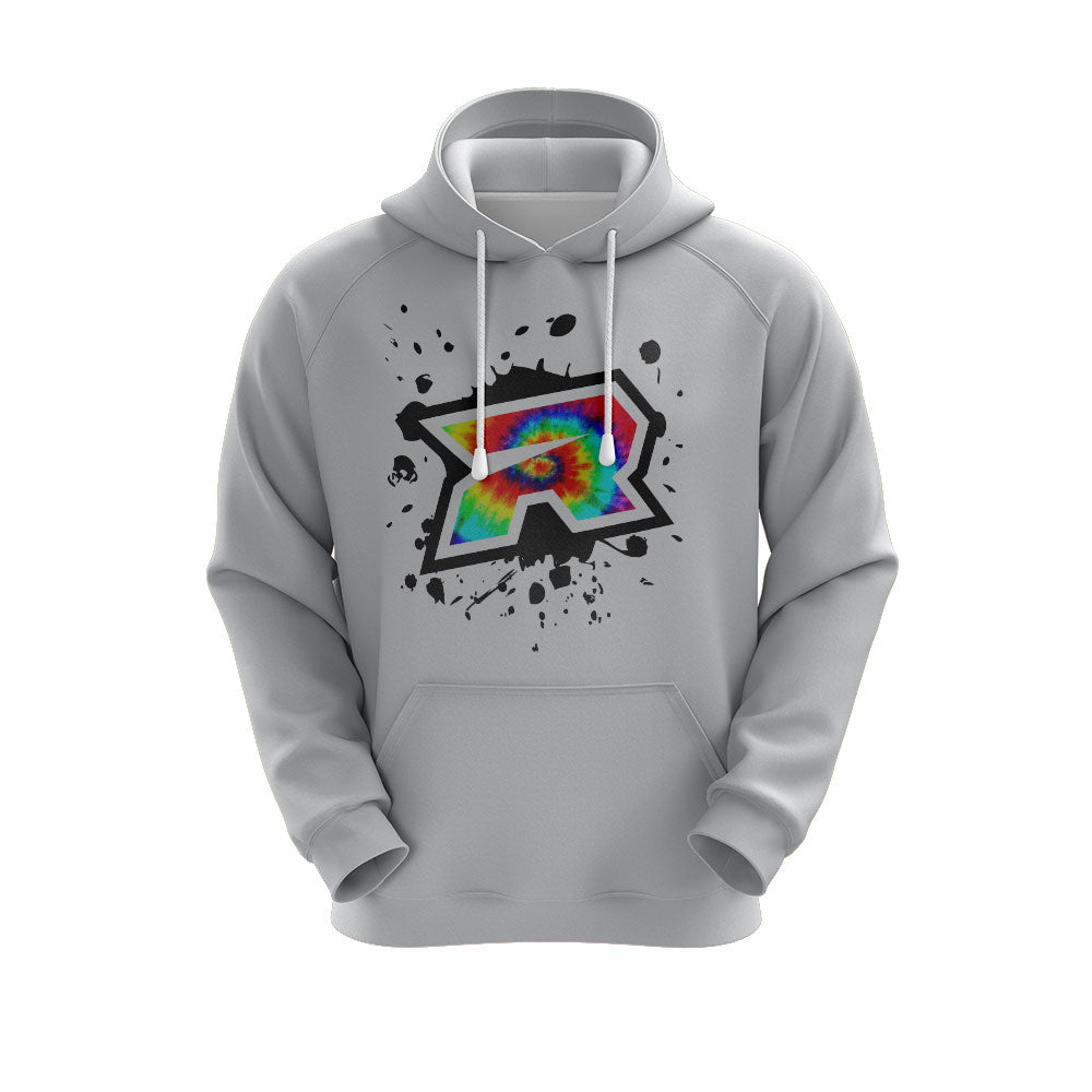 **NEW** Heather Grey Hoodie w/ Tie Dye Splash Riot Logo