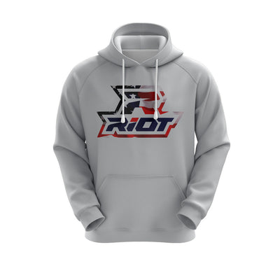 Heather Grey Hoodie w/ USA Riot Logo