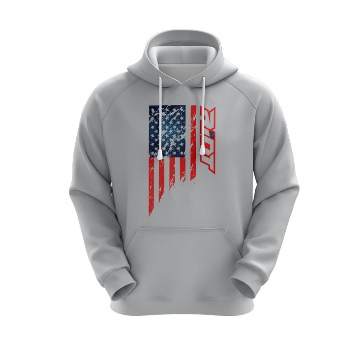 Heather Grey Hoodie w/ US Flag Riot Logo