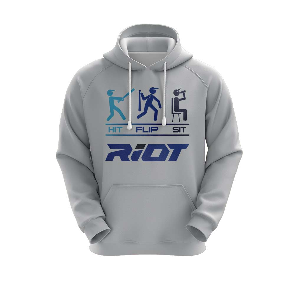 **NEW** Heather Grey Hoodie w/ Hit Flip Sit Riot Logo - Choose your color logo