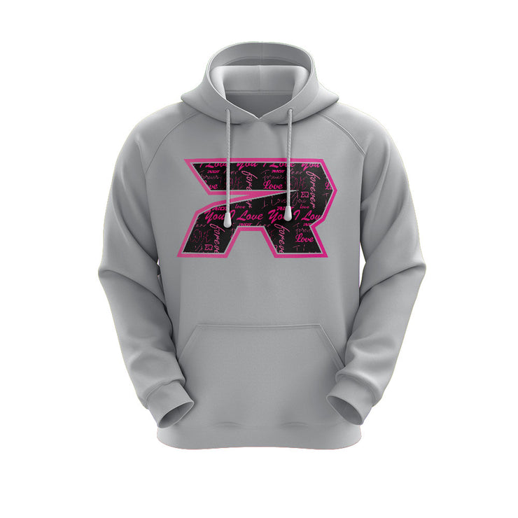 Heather Grey Hoodie with Riot Valentines Day Pattern Logo