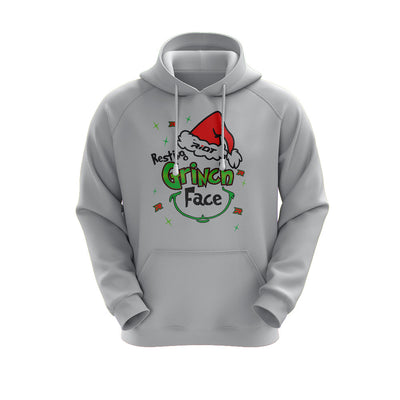 Heather Grey Hoodie with Riot Resting Grinch Face Logo