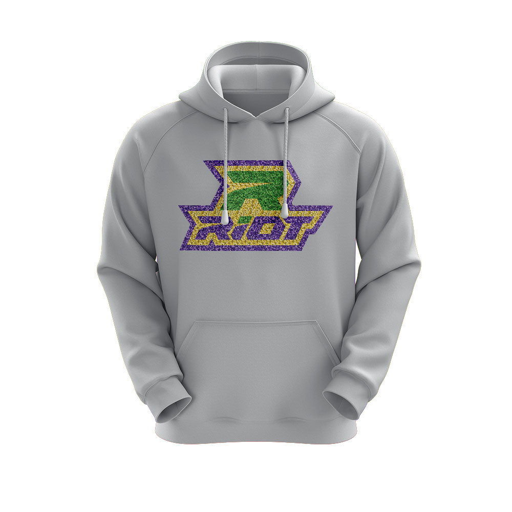 Heather Grey Hoodie with Riot Mardi Gras Glitter Logo