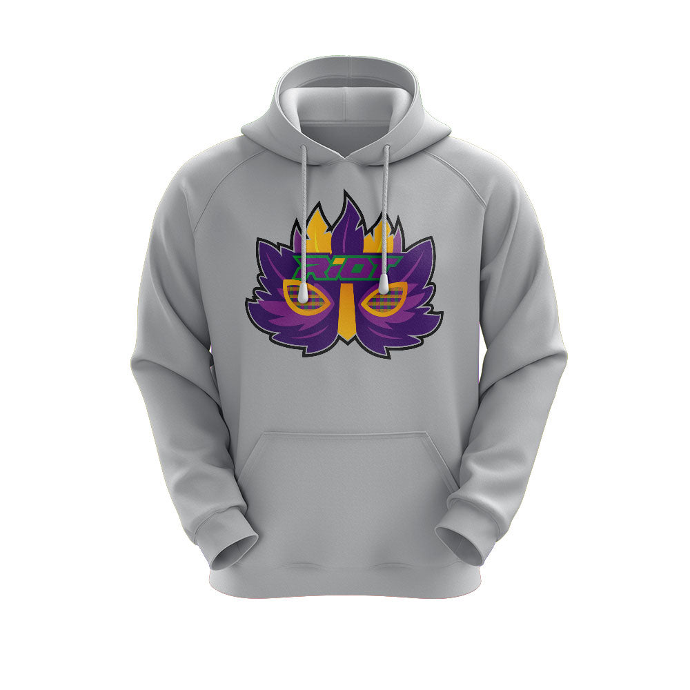 Heather Grey Hoodie with Riot Mardi Gras Mask Logo