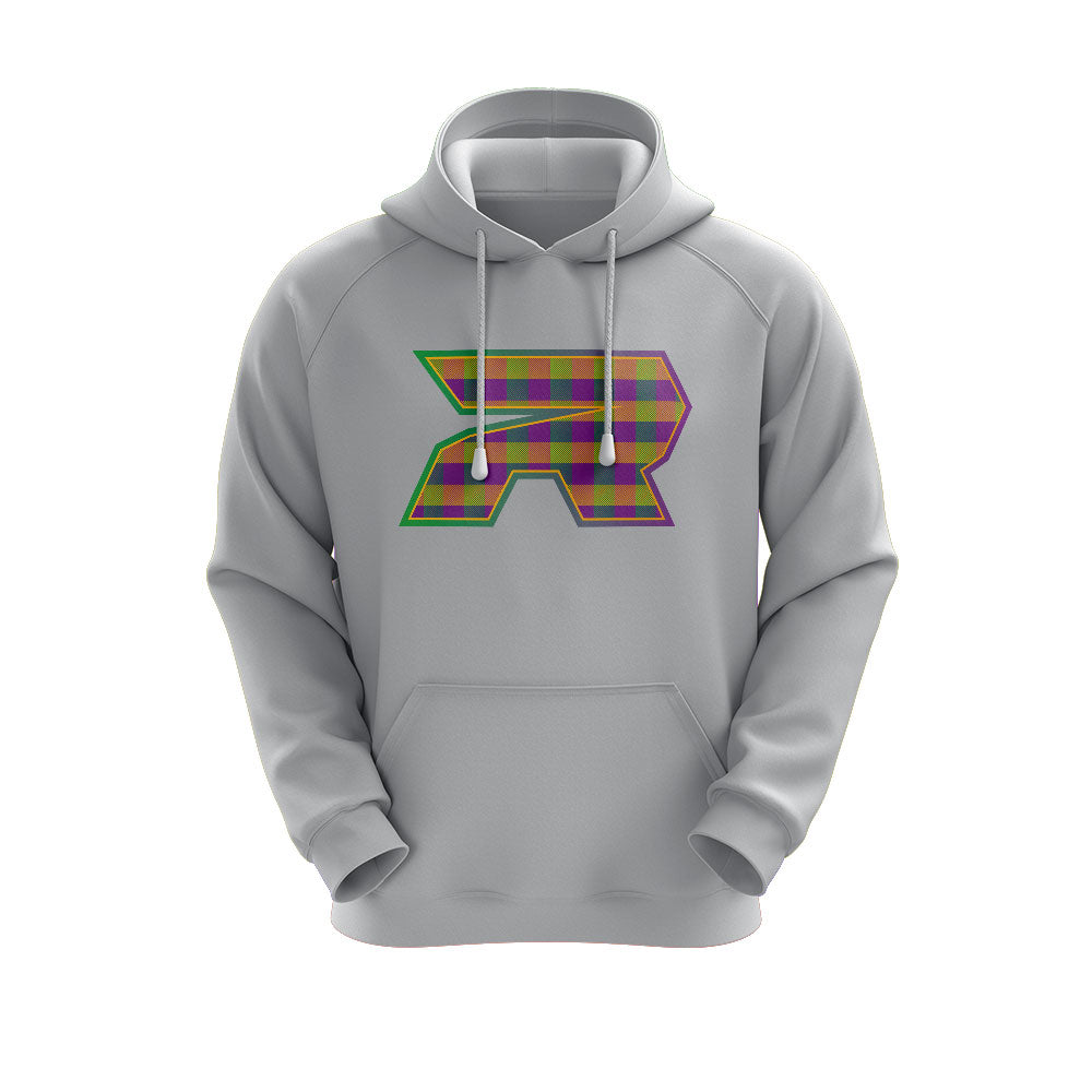 Heather Grey Hoodie with Riot Mardi Gras Plaid Logo