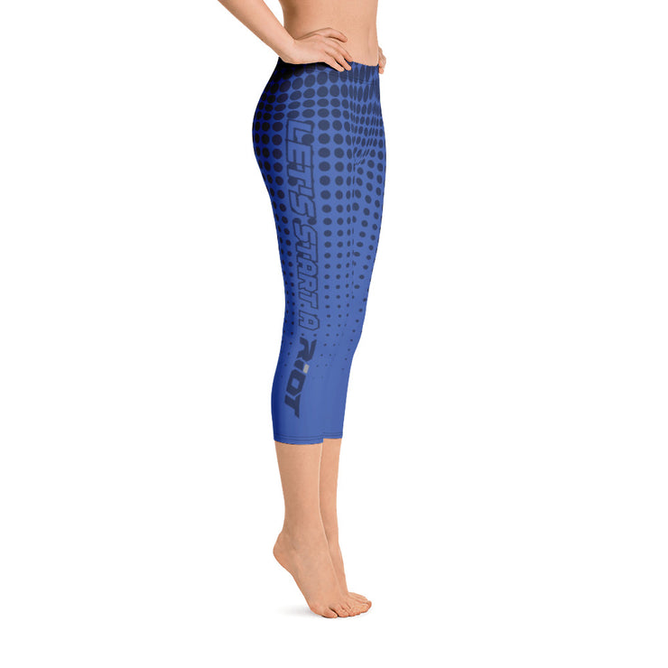 Navy/Royal Blue Dots Full Dye Reg Waistband Capri Leggings