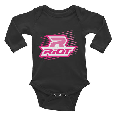 Pink Grunge Riot Baby Long Sleeve Onesie - Pick your shirt color