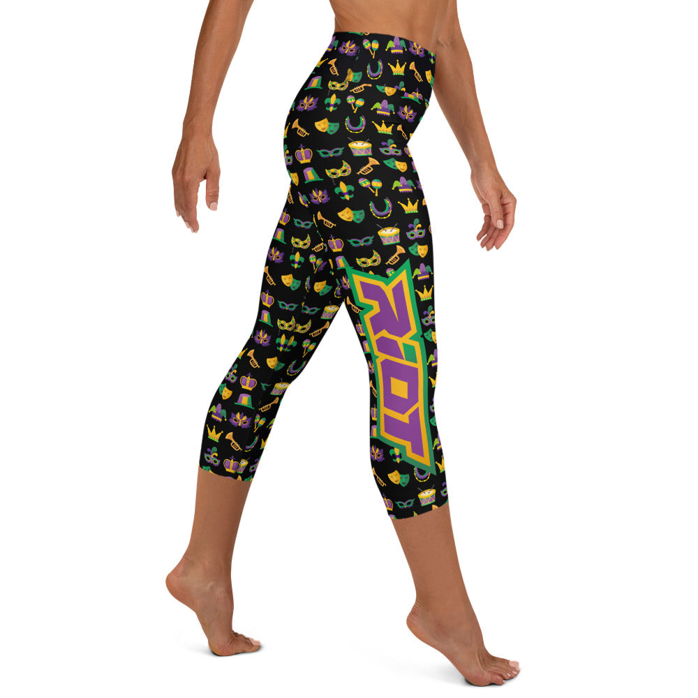 Mardi Gras Patterned Riot Full Dye Yoga Capri Leggings