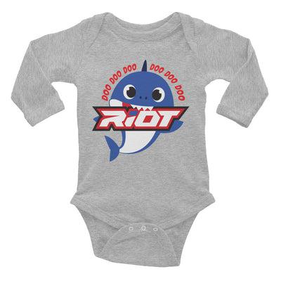 Blue Baby Shark Riot Baby Long Sleeve Onesie - Pick your shirt color