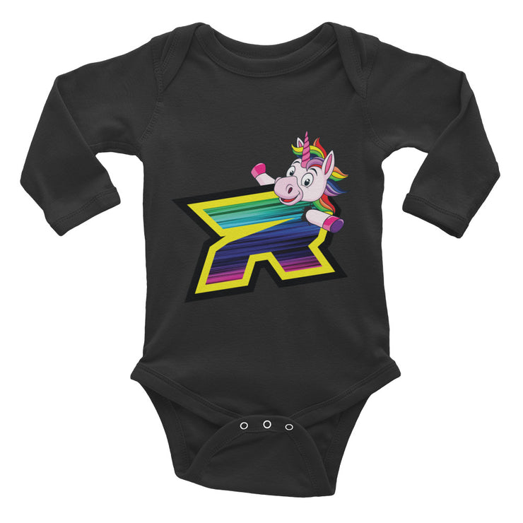 Unicorn Riot Baby Long Sleeve Onesie - Pick your shirt color