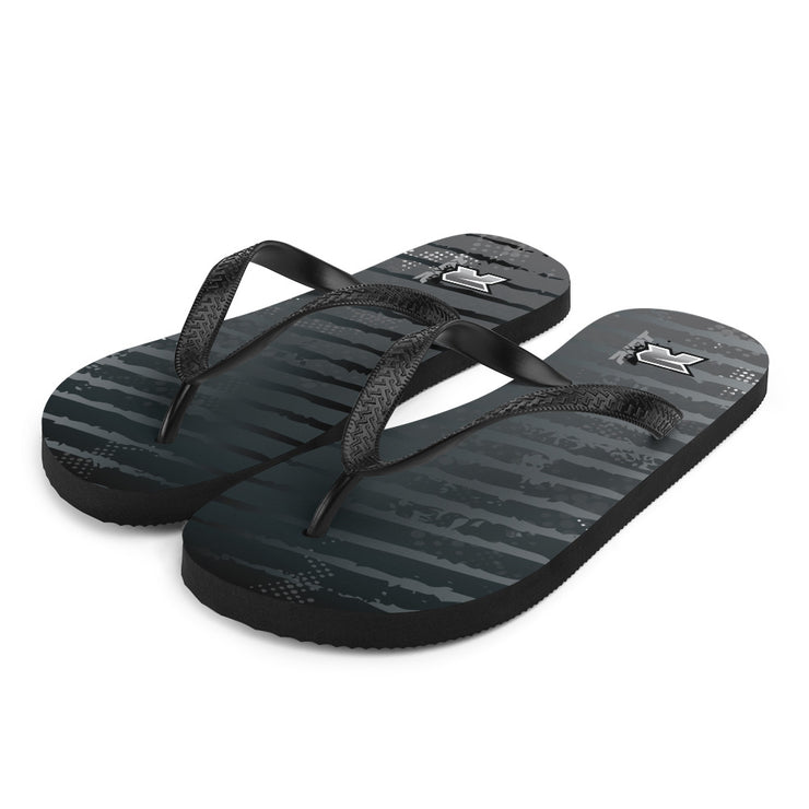 Black Grunge Sublimated Riot Flip Flops