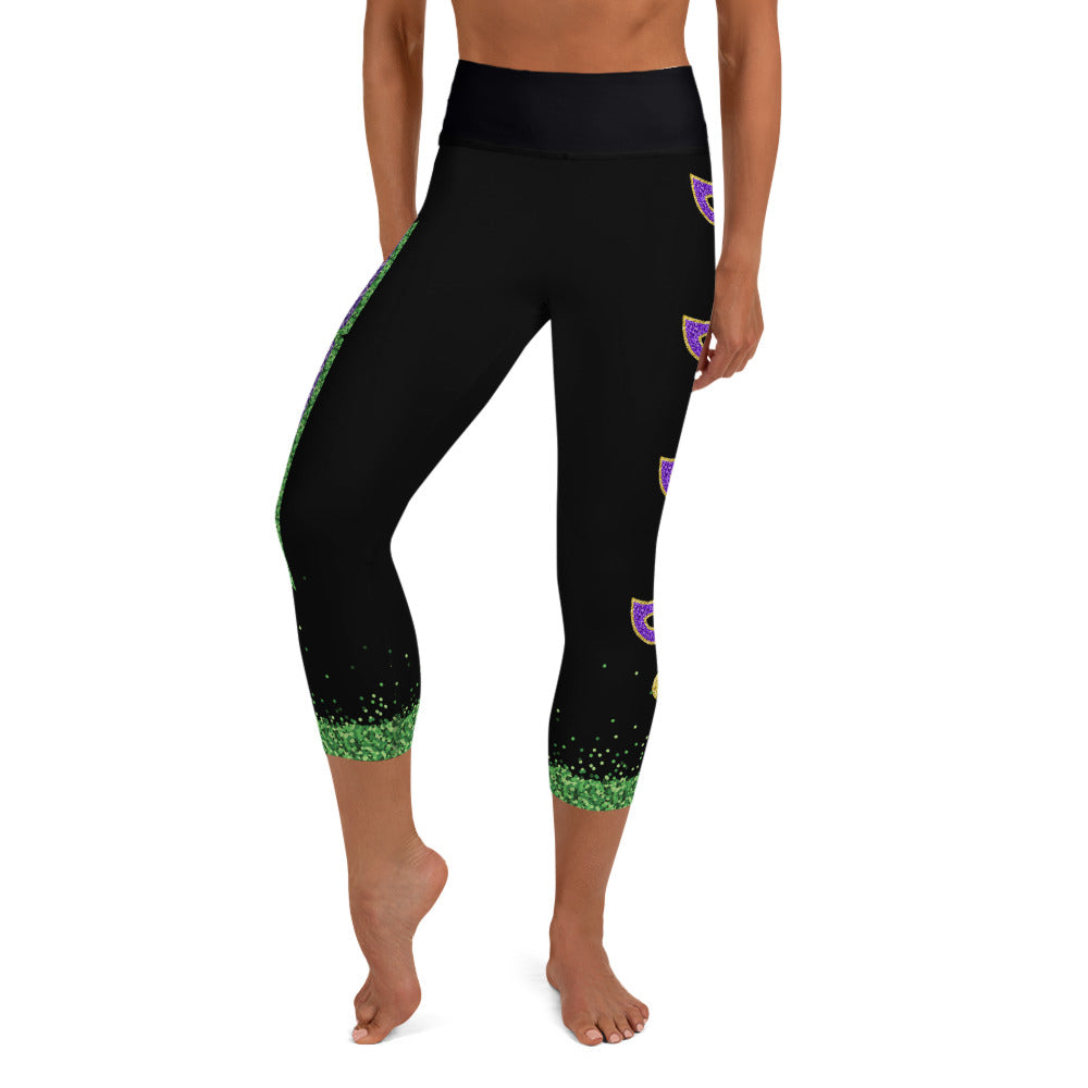 Mardi Gras Black Riot Full Dye Yoga Capri Leggings