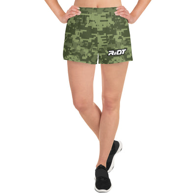 Riot Green Digi Camo Women's 4 Way Stretch Shorts