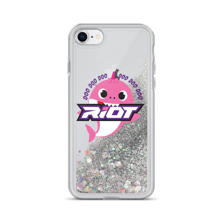 Pink Baby Shark Riot Logo Liquid Glitter Phone Case