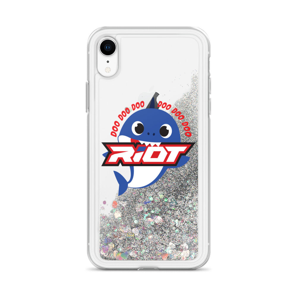 Blue Baby Shark Riot Logo Liquid Glitter Phone Case