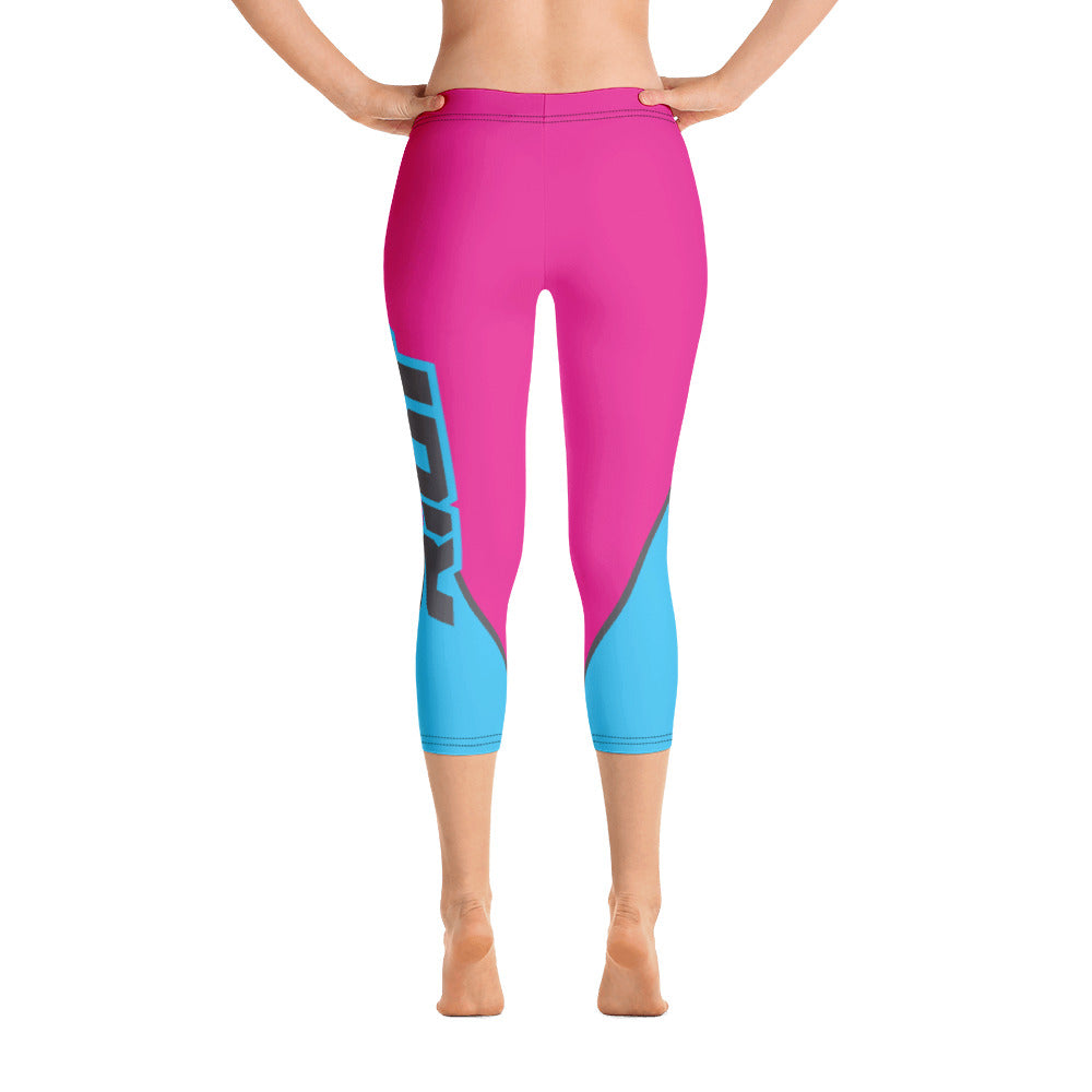 Pink/Electric Blue Full Dye Reg Waistband Capri Leggings