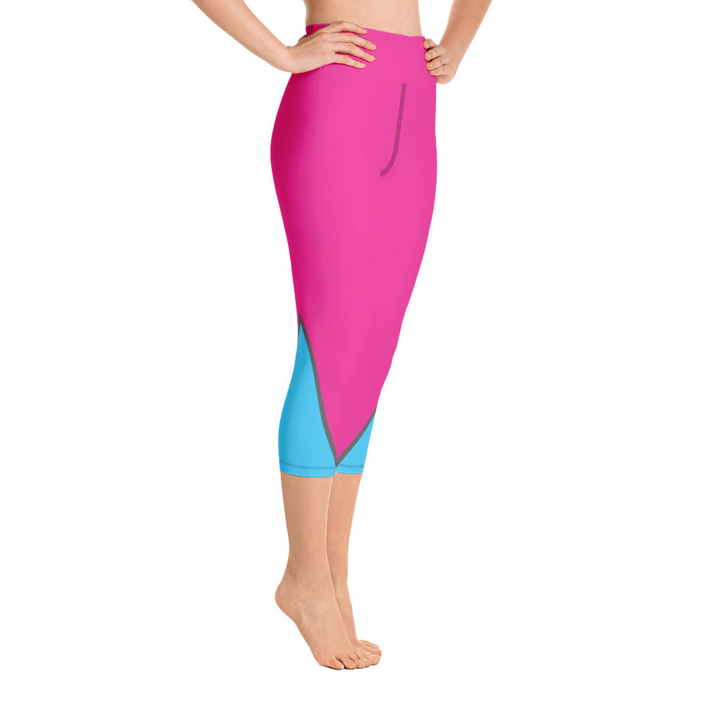Pink/Electric Blue Full Dye Yoga Capri Leggings