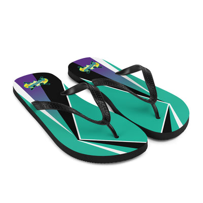 Teal Flip-Flops with Battitude Logo