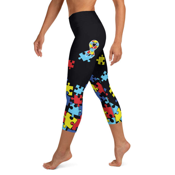 Autism Awareness Riot Full Dye Yoga Capri Leggings