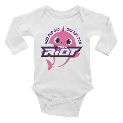 Pink Baby Shark Riot Baby Long Sleeve Onesie - Pick your shirt color