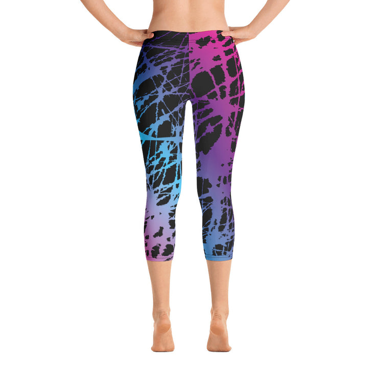 Pink/Blue Chaos Full Dye Reg Waistband Capri Leggings