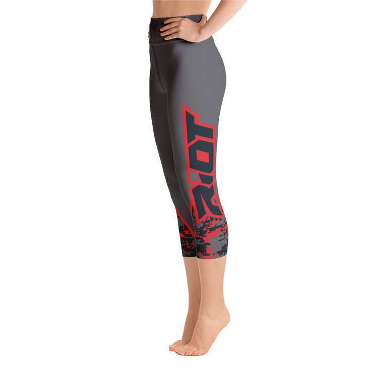 Charcoal Red Camo Full Dye Yoga Capri Leggings