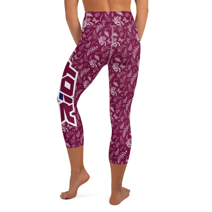 Maroon and White Flowers Riot Yoga Capri Leggings