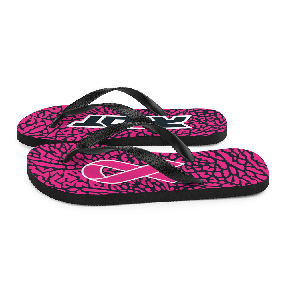 Breast Cancer Awareness Sublimated Riot Flip Flops