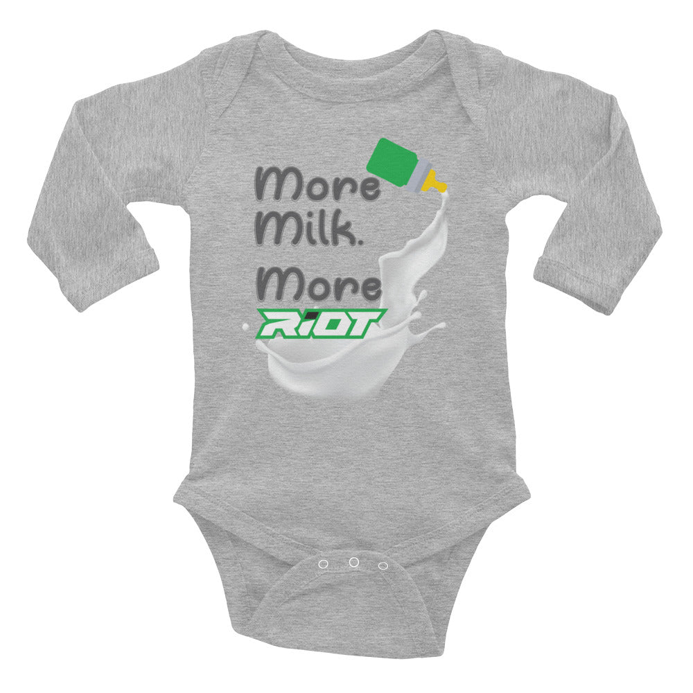 More Milke Riot Baby Long Sleeve Onesie - Pick your shirt color