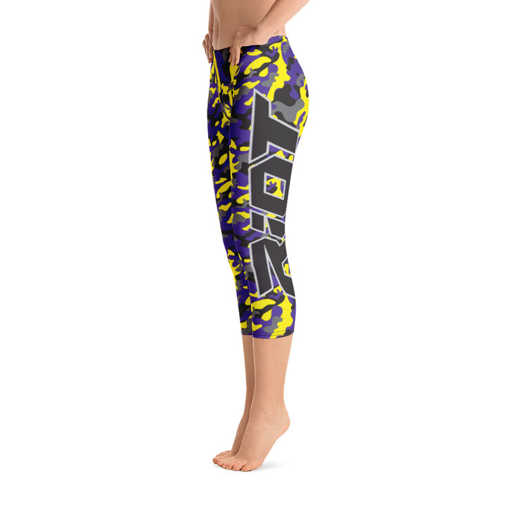 Purple Yellow Camo Full Dye Reg Waistband Capri Leggings