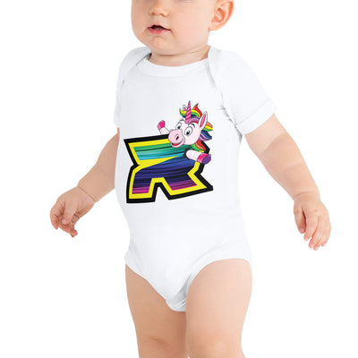 Unicorn Riot Baby Short Sleeve Onesie - Pick your shirt color