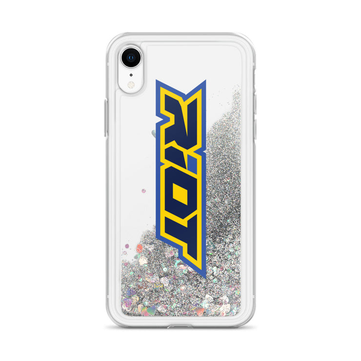 Yellow/Blue Riot Logo Liquid Glitter Phone Case