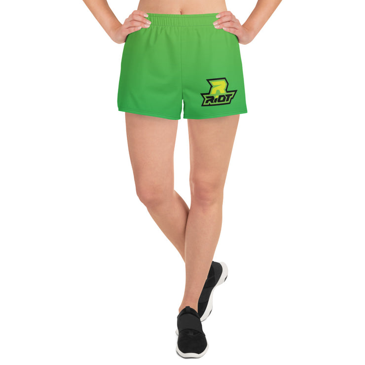 Riot Green Fade Women's 4 Way Stretch Shorts