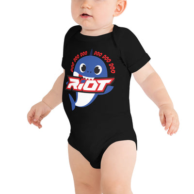 Blue Baby Shark Riot Baby Short Sleeve Onesie - Pick your shirt color