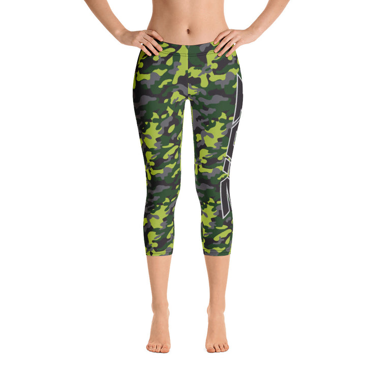 Green Camo Full Dye Reg Waistband Capri Leggings