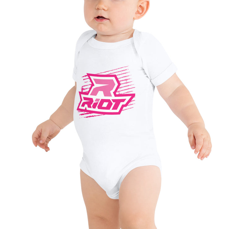 Pink Grunge Riot Baby Short Sleeve Onesie - Pick your shirt color