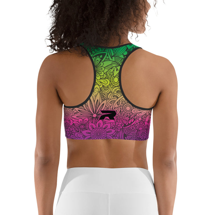 Colorful Black Flower Riot Sports bra