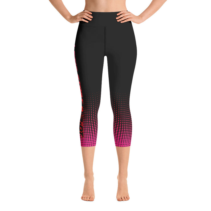 Black/Pink/Red Dots Full Dye Yoga Capri Leggings