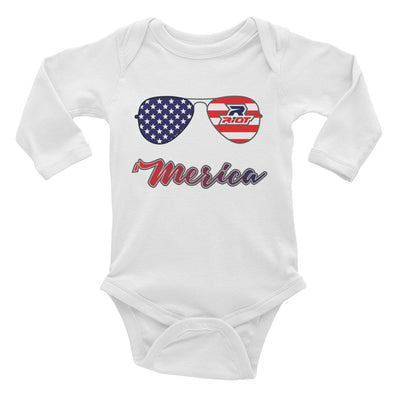 'Merica Riot Baby Long Sleeve Onesie - Pick your shirt color